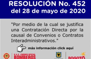RESOLUCIÓN No. 452 del 28 de mayo de 2020