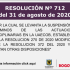 RESOLUCIÓN No. 712 del 31 de agosto de 2020